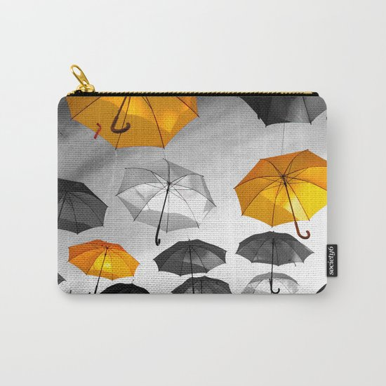 Yellow  is my color - Yellow and Black Umbrellas Carry-All Pouch