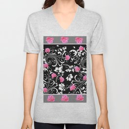 BEAUTIFUL PINK GREY-BLACK ROSE SCROLLS Unisex V-Neck