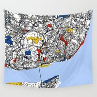 mondrian Wall Tapestries featuring Lisbon mondrian by Mondrian Maps