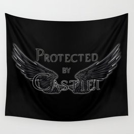 Protected by Castiel Black Wings Wall Tapestry