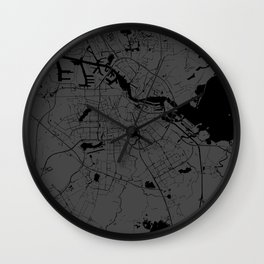 Amsterdam Gray on Black Street Map Wall Clock
