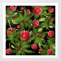 cherry Art Prints featuring cherry by mark ashkenazi