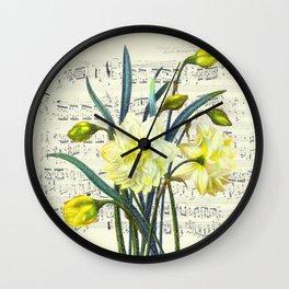 Daffodil Spring Song Wall Clock