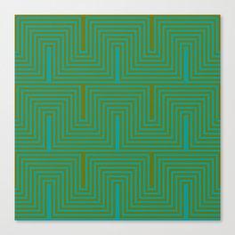 Doors & corners op art pattern in olive green and aqua blue Canvas Print