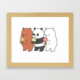 Baby Bears Eating Some Ice Cream Framed Art Print