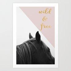 Wild & Free (Pink Horse) Art Print
