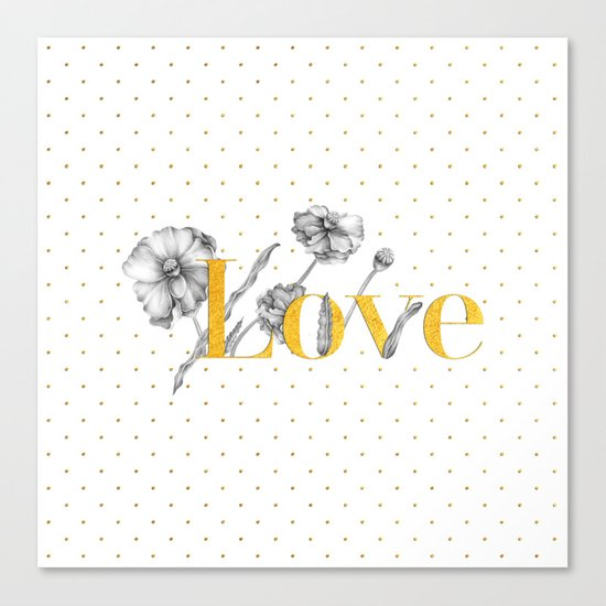 Love - Gold flowers and polkadots on white Canvas Print