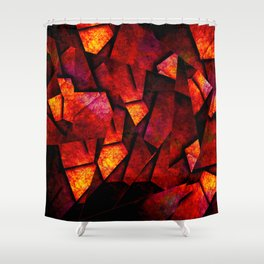 Fragments Of Fire - Abstract, geometric, fragmented pattern Shower Curtain