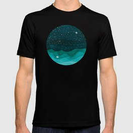 Starry Ocean, teal sailboat watercolor sea waves night T-shirt