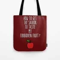 swan queen Tote Bags featuring Swan Queen - Forbidden Fruit by Sarah and Bree