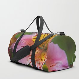 Pink and yellow flora Duffle Bag