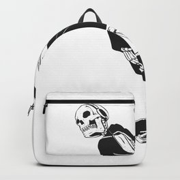 Grim reaper skater - funny skeleton - gothic monster - black and white Backpack
