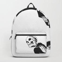 Grim reaper skater - funny skeleton - gothic monster - black and white Backpack