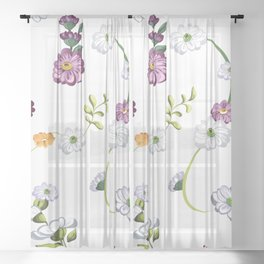 Spring Flowers, Nature 3 Sheer Curtain