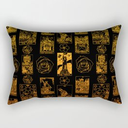 Beautiful Gold Tarot Print on Black Rectangular Pillow