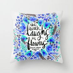 The Earth Laughs in Flowers – Turquoise & Blue Throw Pillow
