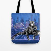 gotham Tote Bags featuring Gotham Catgirl by Chelestino
