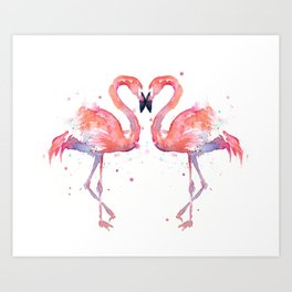 Pink Flamingo Love Two Flamingos Kunstdrucke