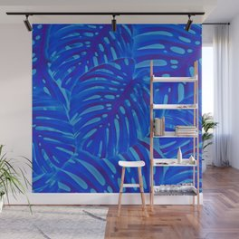 Blue Monstera Plant Wall Mural