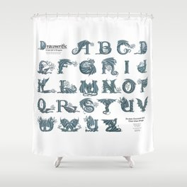 Dracoserific, a font full of Dragons (light) Shower Curtain