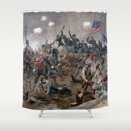 Vintage Lithograph of the Battle of Spotsylvania Shower Curtain