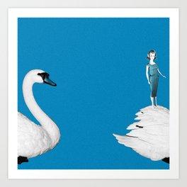 A Doll & Her Swan Art Print