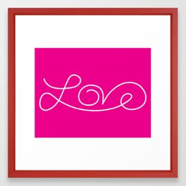 Love calligraphy print - pink background with white Framed Art Print