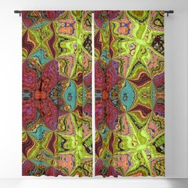 Kaleidoscope Glass Art (Maroon, Yellow, Salmon, Teal, Red) Blackout Curtain