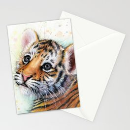 Nursery-Artwork-Tiger-Cub-Baby-Animal-Watercolor-Jungle-Safari-Animals Stationery Cards