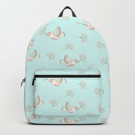 Christmas birds - Bird pattern on turquoise background Backpack