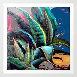 WESTERN DESERT BLUE AGAVE ABSTRACT Art Print