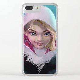 Spider Gwen head portrait Clear iPhone Case
