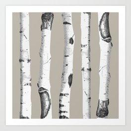 Birch tree forest art Art Print