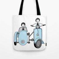 vespa Tote Bags featuring Vespa by flapper doodle
