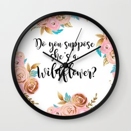 Blush and gold wildflower Wall Clock