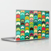 green arrow Laptop & iPad Skins featuring arrow pop green by Sharon Turner