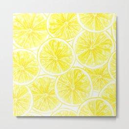 Lemon slices pattern watercolor Metal Print