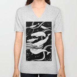 Beluga Whale Pod Unisex V-Neck