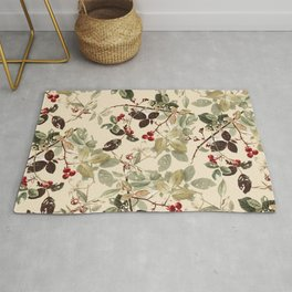 Vintage ivory red green forest berries floral Rug