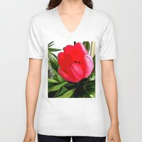 tulip V-neck T-shirts featuring Tulip by Mr and Mrs Quirynen