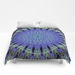 Mandala in neon blue and green Comforters
