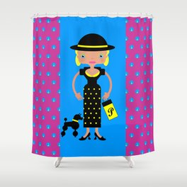 French Chic girl with poodle Shower Curtain