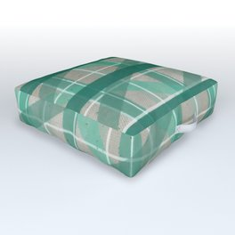 Turquoise Mermaid Plaid Outdoor Floor Cushion