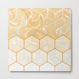 Geometric Effect Caramel Marble Design Metal Print