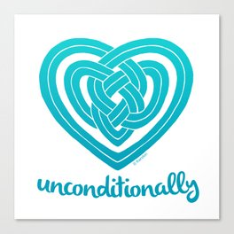 UNCONDITIONALLY in teal Canvas Print