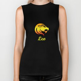 Leo Fire Sign Graphic Zodiac Birthday Gift Idea Horoscope Design Biker Tank