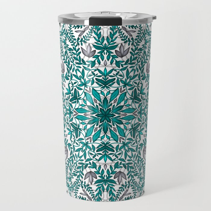 Woven Vines of Silver and Life Travel Mug