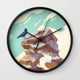 Alpine Crow Wall Clock