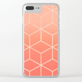 Living Coral Gradient - Geometric Cube Design Clear iPhone Case