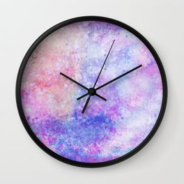 Abstract pink blue ultraviolet hand painted watercolor pattern Wall Clock